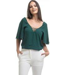blusa clara arruda decote cruzado 20538 - feminino