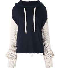 monse chunky sleeve hoodie - blue