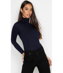 basic top met lange mouwen en col, marineblauw