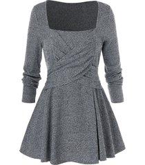 plus size solid square collar tunic sweater