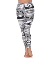 white mark women's one size fits most printed leggings