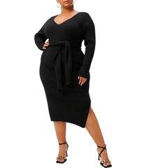 plus size women's good american long sleeve belted body-con dress, size 6 - black
