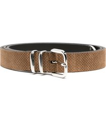 eleventy perforated suede belt - brown