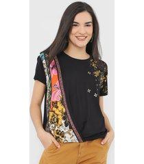 camiseta desigual atenas preta - preto - feminino - viscose - dafiti