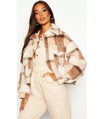 flannel faux fur trucker jacket, brown