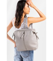 women's poppy front zipper backpack in sand by francesca's - size: one size