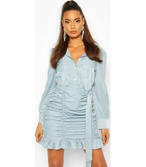 bodycon blouse jurk met ruches, blauw