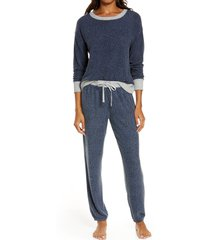 women's splendid long sleeve pajamas, size small - blue