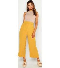 woven wide leg culottes, mustard