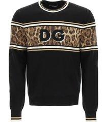 dolce & gabbana animalier wool sweater