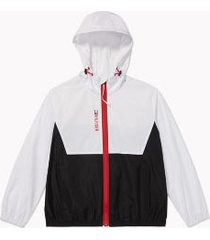 tommy hilfiger women's adaptive packable colorblock jacket bright white / th black deep - xxl
