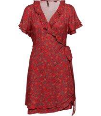 summer wrap dress knälång klänning röd superdry