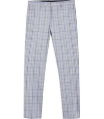 mens blue check super skinny pants