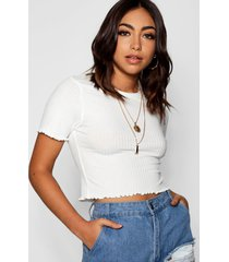 basic geribbelde crop top met lettuce edge, ivory