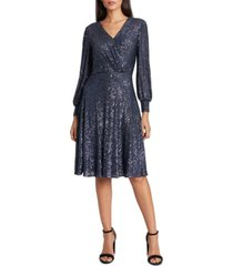 tahari asl surplice sequined dress