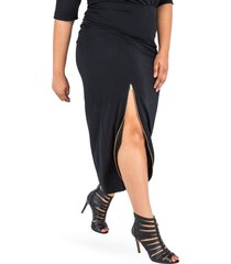 plus size women's poetic justice kandi zip slit maxi skirt, size 3x - black