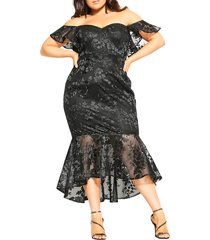 plus size women's city chic dress aflutter midi dress, size 20w - black