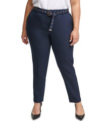 calvin klein plus size hardware-embellished belted pants