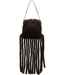 the fringe pouch shearling clutch bag