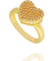 anel coração cravejado zircônias semi joia feminino