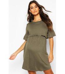 zwangerschap gesmokte borstvoeding jurk, khaki