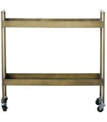 metal 2-tier bar cart on caster wheels