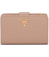prada logo-plaque folding wallet - brown