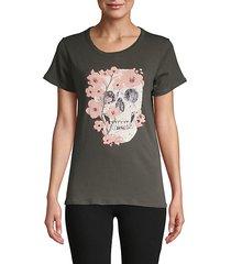 flower & skull cotton t-shirt