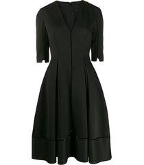 talbot runhof torin waffle pique dress - black