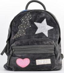 mochila terciopelo estrella gris mailea