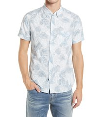 rails fairfax short sleeve button-up linen blend shirt, size large in blue elephant at nordstrom