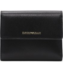 emporio armani trifold wallet with contrast screen-printed logo detail