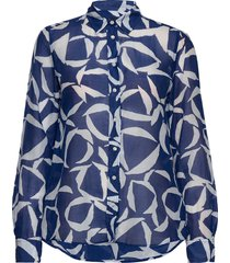 d1. crescent bloom co silk shirt långärmad skjorta blå gant