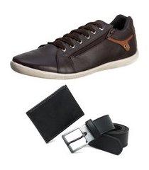 conjunto sapatênis masculino + carteira slim + cinto - café ro01