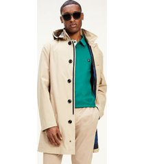 tommy hilfiger men's hooded tech car coat camel - s