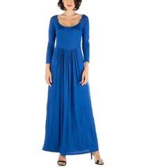 24seven comfort apparel women's empire waist long sleeve maxi dress