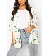 bloemenprint kimono, wit