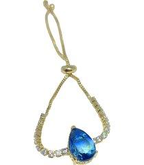 pulseira kumbayá gota rainbow semijoia banho de ouro 18k zircônia azul e branca duo com fecho ajustável