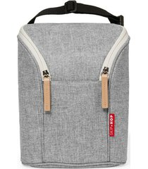 bolsa térmica para mamadeira double bottle bag (grab & go) - grey melange skip hop