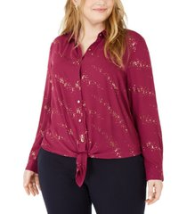 ny collection plus size printed button-front tie-hem top