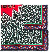 la doublej leopard fsquare scarf - black