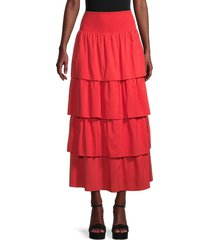 weworewhat women's paloma tiered maxi skirt - ruby - size s