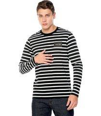 camiseta manga larga negro-blanco tommy hilfiger