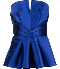 alberta ferretti blue silk-blend bodice top
