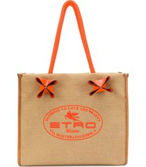 etro logo print textured tote bag - neutrals