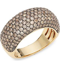 14k yellow gold brown diamond band ring
