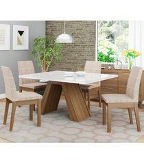 conjunto sala de jantar madesa ayla mesa tampo de vidro com 4 cadeiras marrom