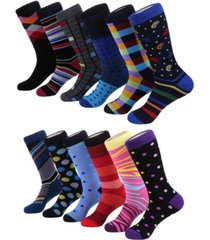 mio marino men's bold designer dress socks pack of 12