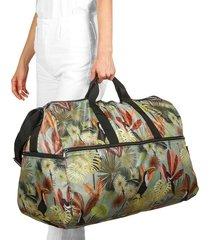 maleta xl plegable estampado tropical citybags multicolor