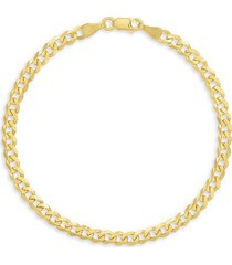 saks fifth avenue men's 14k yellow gold curb chain bracelet
